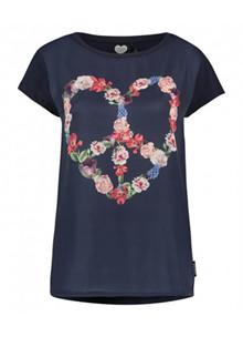 Catwalk Junkie TS Floral Heart t-shirt i navy
