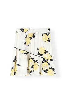 Ganni Silvery Crepe nederdel i hvid m. blomster