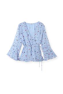 Ganni Dainty Georgette Wrap bluse i blå