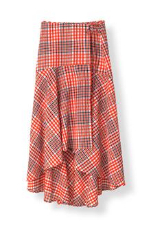 Ganni Charron Wrap nederdel i rød