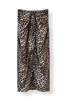 Ganni Calla Silk nederdel i leopard