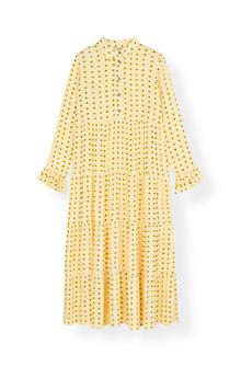 Ganni F3390 Printed Crepe kjole i gul