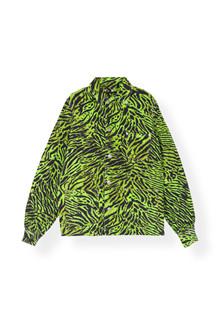 Ganni F3723 Print Denim jakke i neon