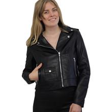 Furst læder Biker jakke i sort