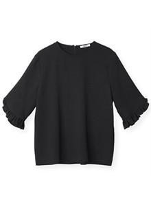 Ganni Clark F2628 bluse i sort