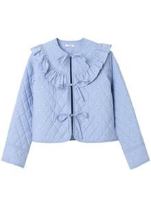 Ganni F2791 Faulkner jakke i lys blå