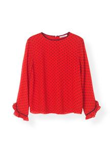 Ganni F2988 Printed Georgette bluse i rød