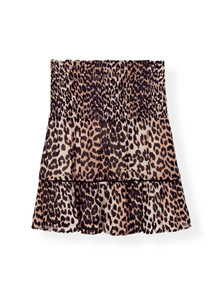 Ganni F3052 Mullin Georgette nederdel i leopard