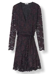 Ganni Flynn lace wrap dress i sort