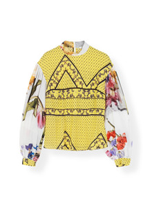 Ganni Hemlock Silk F3262 bluse i gul