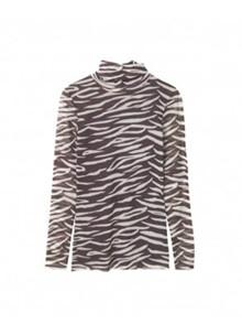 Ganni T2072 Tilden Mesh bluse i zebra