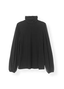 Ganni T2173 Dot Mesh bluse i sort