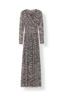 Ganni T2074 tilden Mesh kjole i zebra