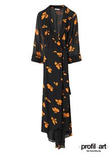 Ganni Fairfax Georgette wrap kjole i sort m. orange blomster