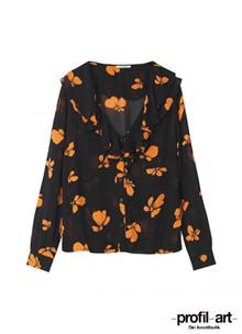 Ganni Fairfax Georgette bluse i sort m. orange blomster