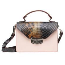 Ganni Gallery Accessories taske i lyserød/brun slangelook