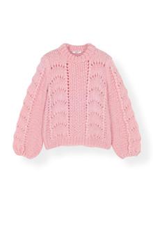 Ganni K1171 The Julliard Mohair striktrøje i rosa