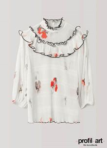 Ganni Lowell bluse i creme m. print