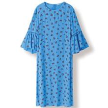 Ganni Roseburg Crepe F2427 kjole i blå