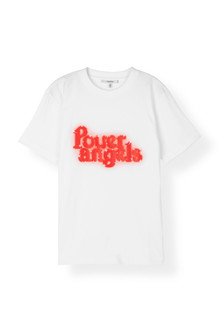 Ganni T2114 Power Angels t-shirt i hvid