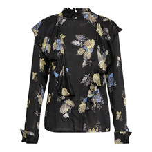 Gestuz Aia bluse i sort m. blomster
