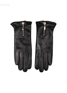Hollies Zip Glove læder handsker i sort