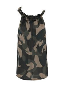 Karmamia Camouflage Ruffle Tie Top i army