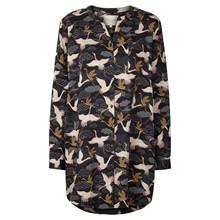 Lollys Laundry Lenora skjorte i midnatsblå m. fugle