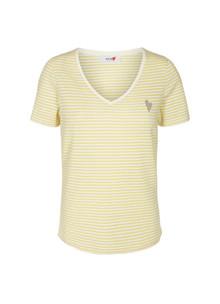 Mos Mosh Kenia Glam Stripe T-shirt i gul