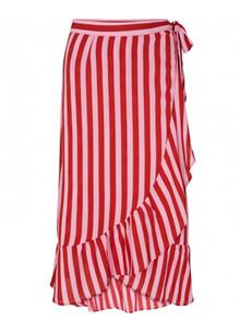 Neo Noir Mika Broad Strip nederdel i lyserød/rød