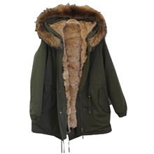 Pelsnoer Cass frakke i Khaki med natur pels