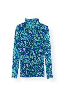 Ganni T2421 Printed Mesh bluse i blå