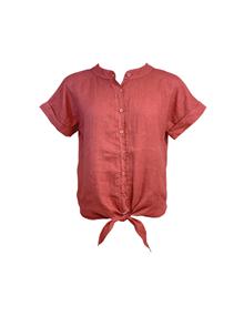 Black Colour Fie S/S Linen skjorte i brændt rød