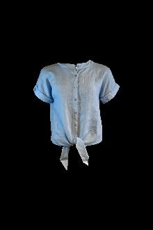 Black Colour Fie S/S Linen skjorte i blå