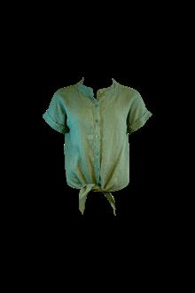 Black Colour Fie S/S Linen skjorte i army