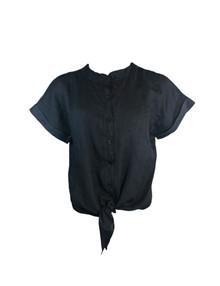 Black Colour Fie SS Linen skjorte i sort