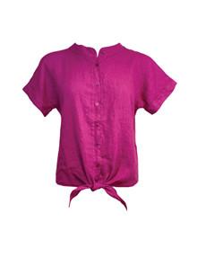 Black Colour Fie SS Linen Skjorte i pink