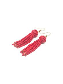 By Bram perle øreringe i Rød