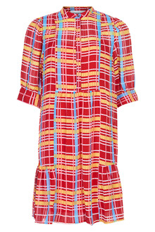 Denim Hunter Oda Puffsleve kjole i mønstret
