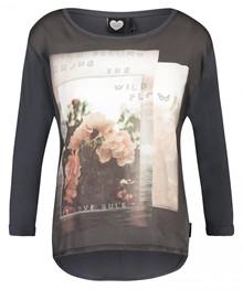 Catwalk Junkie Rose Garden bluse i mørkegrå