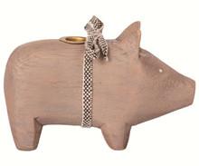 Maileg Wooden Pig Lille træ gris i grå