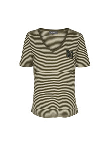 Mos Mosh Alisha V-neck T-shirt i stribet