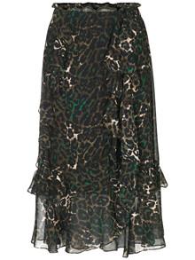 Munthe Vancouver nederdel i grøn leopard mønster