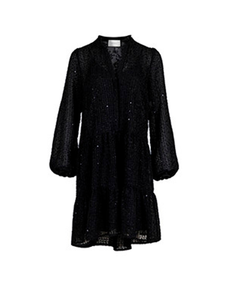 Neo Noir Federica Chiffon kjole i sort