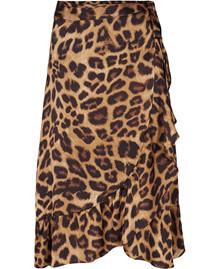 Neo Noir Mika Leo Wrap nederdel i leopard