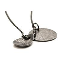 Pernille Corydon Coin & Drop halskæde i oxideret sølv