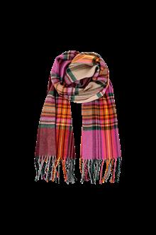 Black Colour Noble Check tørklæde i pink/vinrød