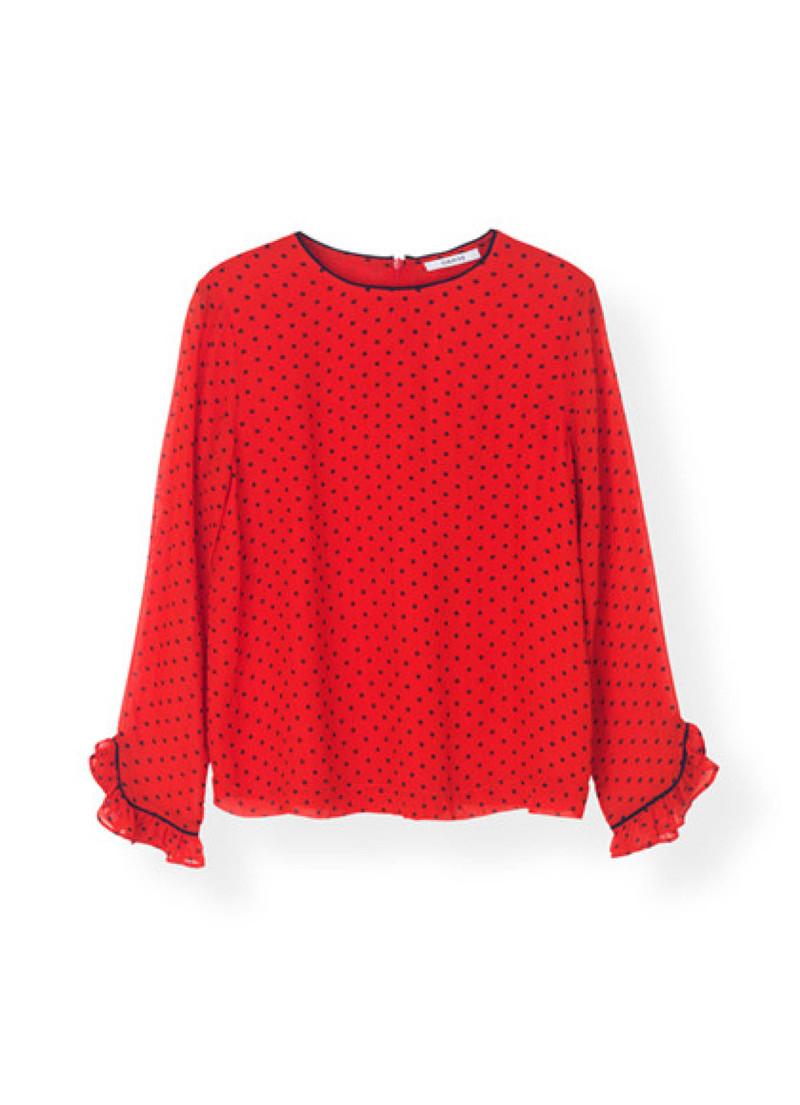1d923bcc Fri fragt over 499 kr,- | Rød bluse med sorte prikker | Ganni