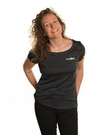 WX Women Active T-Shirt<br />Charcoal w Flash Green