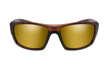 KOBE Pol Amber Gold Mirror<br />Gloss Hickory Brown Frame